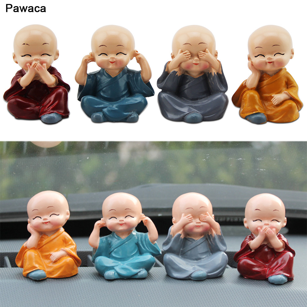 4pcs/set Kung Fu Little Monk Car Decoration Lovely Toy Resin Doll Ornaments Car Accessories Resin Office Home Table Decor