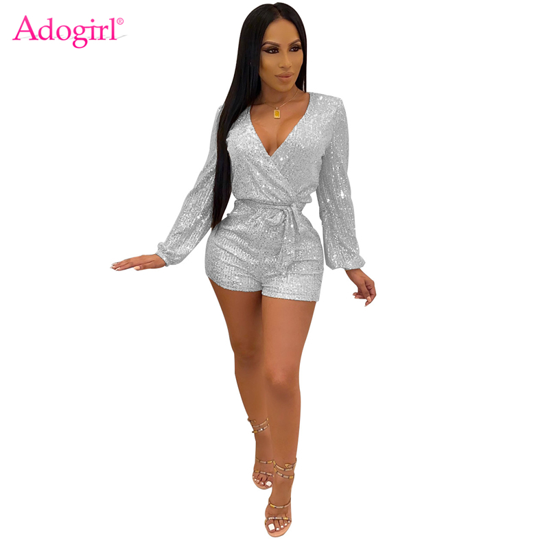 Adogirl Sequins Playsuit Women Sexy Wrap V Neck Long Sleeve Shorts Romper Night Club Overalls Female Fashion Bodysuits Outfit
