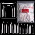 500 шт., удлиненные накладные ногти на шпильках, акриловый гель для салона, полупокрытие, накладные ногти, натуральный/прозрачный/белый, УФ-ге...