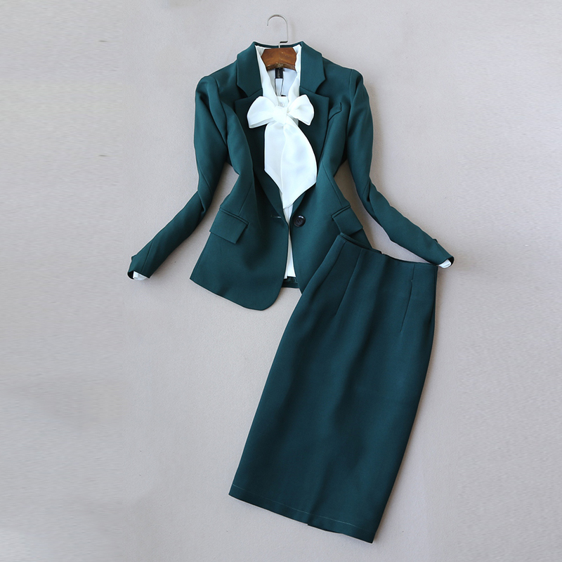 Temperament Women's Suits Casual Skirt Suit 2019 Casual Solid Color Ladies Small Suit Jacket Slim Skirt Two-piece High Quality