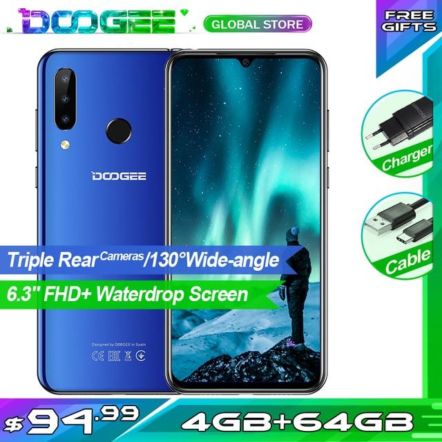 هاتف Doogee N20 محمول بشاشة 6.3 بوصات مع إسقاط الماء وكاميرا خلفية ثلاثية بدقة 16 ميجابكسل وبطارية 4350 مللي أمبير في الساعة وذاكرة وصول عشوائي 4 جيجابايت + مساحة تخزين 64 جيجابايت ومعالج ثماني النوى وقدرة 10 واط ومزود بشحن هاتف ذكي بتقنية الجيل الرابع