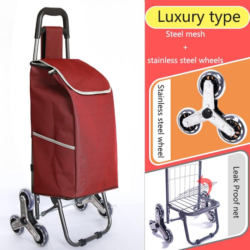 Поднимайтесь вверх, тележка для покупок, большие товары, товары, чехол на колесиках, складная тележка для прицепа, бытовая Портативная сумка для покупок, женская сумка - Цвет: High version 2