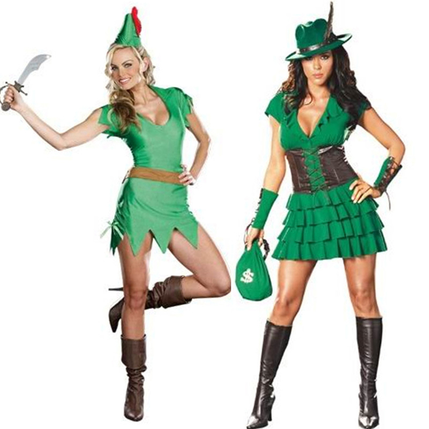 Adult Women Halloween Cosplay Costumes Peter Pan Wizard Heroine Elf Fancy Dress Carnival Anime Cowboy Role-play Clothing Set