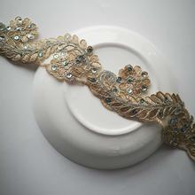2Yards/5.5cm Gold Thread Lace Flower Applique Trim Edge Handmade diy Material Wedding Clothing Applique Flower Timimg цена 2017