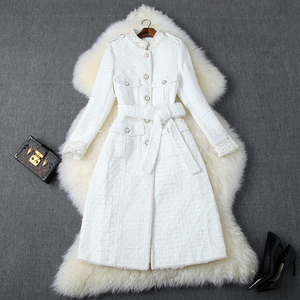 Модные женские дизайнерские осенне-зимние твидовые шерстяные куртки и пальто женские элегантные с длинным рукавом Роскошные Жемчужные Пол...