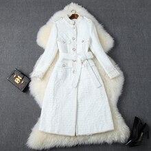 Fashion Women Designers Autumn Winter Tweed Woolen Jackets and Coats Lady Elegant Long Sleeve Luxury