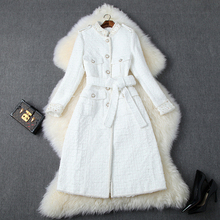 Fashion Women Designers Autumn Winter Tweed Woolen Jackets and Coats Lady Elegan