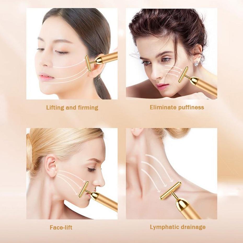 24K Gold Roller Vibrating Facial Massager Slimming Facial Skin Beauty Bar Pulse Firming Face Massage Lift Tightening Wrinkle Bar