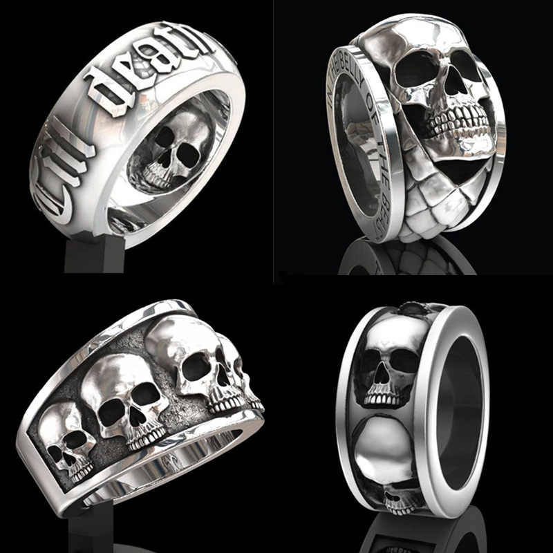 Vintage Black Death Knight Skull Ring Cool Men's Punk Fine Detail Stainless Steel Skeleton Rings for Women Gothic Biker Jewelry