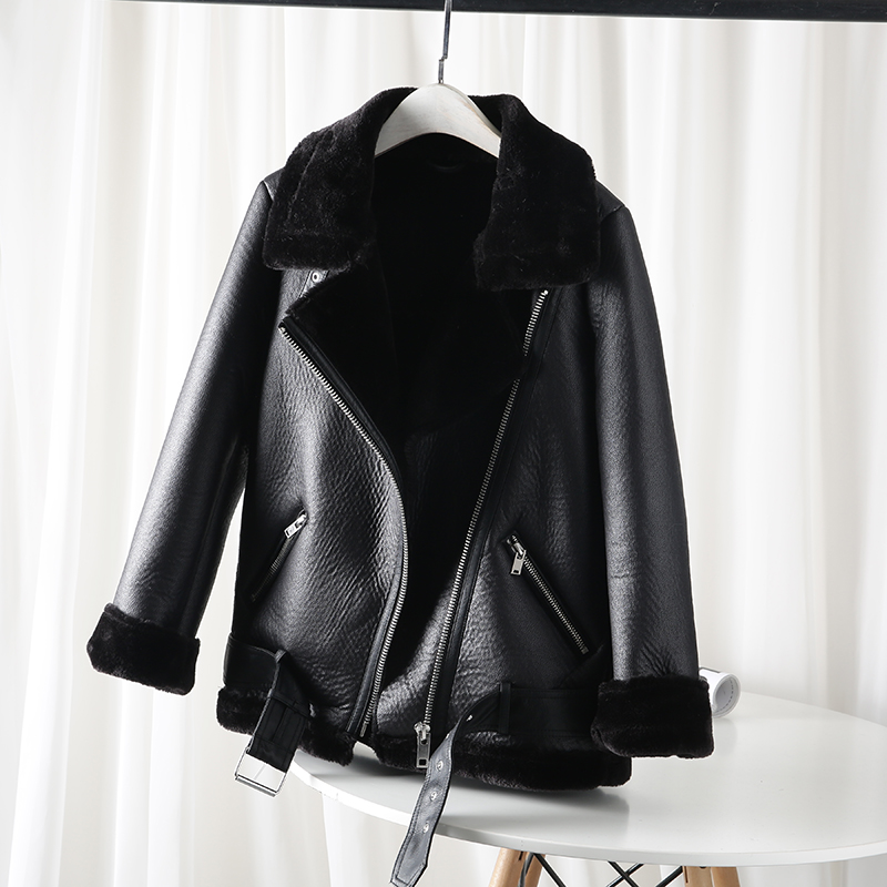 The new 2021 women's jacket with extra thick warm and extra thick lamb feather rider jacket with artificial fur Faux Fur  - AliExpress