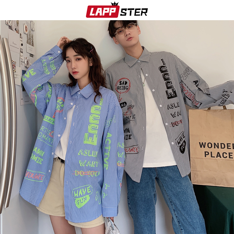LAPPSTER Kpop Striped Shirts Men 2020 Harajuku Streetwear Hip Hop Shirts Long Sleeve Casual Black Shirt Couple Fashions Clothing