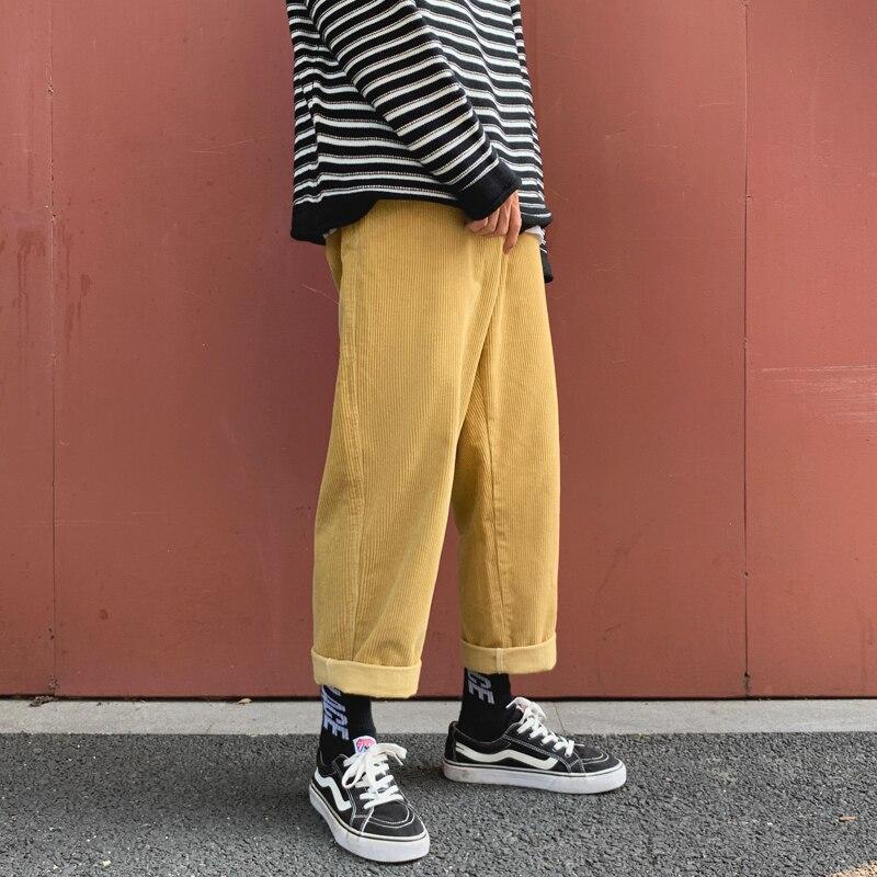 Autumn Corduroy Pants Men Fashion Solid Color Cotton Casual Pants Men Streetwear Hip Hop Loose Straight Trousers Male S-2XL