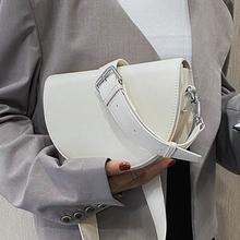 Vintage jednolity kolor torba siodło nowa jakość PU skóra kobiet torebka szeroki pasek na ramię torby na ramię tanie tanio kesthton W kształcie siodła Na ramię i torby crossbody CN (pochodzenie) COVER HARD wytrzymała torba POLIESTER Versatile