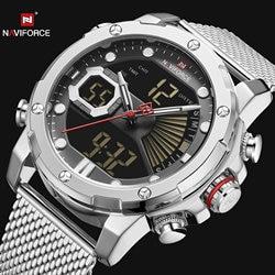 NAVIFORCE Dual Display Quartz Watch Men Auto Date LED Analog Digital Watches Top Brand Luxury Waterproof Military Relogio Clock