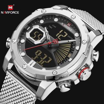 NAVIFORCE Dual Display Quartz Watch Men Auto Date LED Analog Digital Watches Top Brand Luxury Waterproof Military Relogio Clock