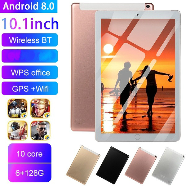 2020 New Tablet Android 10.1 Inch 6G+128G WiFi Tablet Android 8.0 Bluetooth Dual Camera Game Tablet PC Support Dual SIM Card