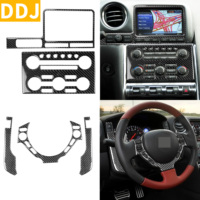 For Nissan GTR R35 2008 2016 Carbon Fiber Instrument Panel Dashboard Sticker Steering Wheel Panel Cover Trim Set Car Accessories