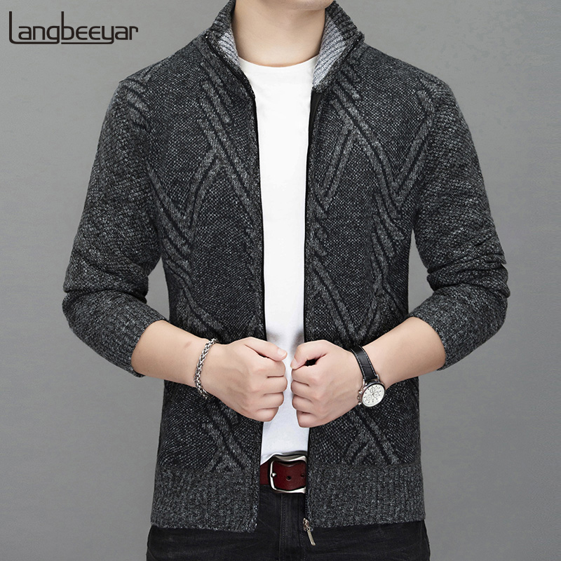 2019 New Thick Warm Fashion Brand Sweater For Mens Cardigan Slim Fit Jumpers Knitred Winter Korean Style Casual Mens Clothes