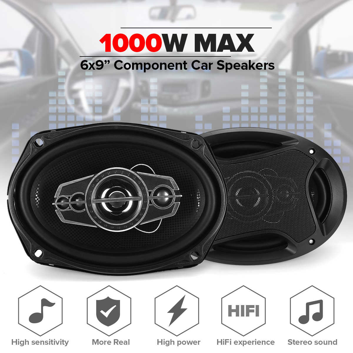 2pcs 800W 6x9 inch Car Speaker and Subwoofer HIFI Coaxial Speaker Car Bass Tweeter Audio Loudspeaker Stereo for Universal Cars|Coaxial speakers| |  - title=