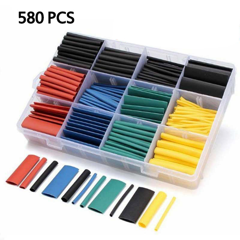 580 Pcs Heat Shrink Tubing Insulation Shrinkable Tubes 2:1 Electrical Wire Cable Wrap Assortment Electric Insulation Sleeve Kit