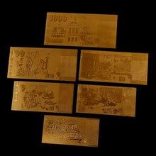 Papel de aluminio de oro falso de Singapur, colección de billetes, decoración, regalos, recuerdos, 6 unids/lote