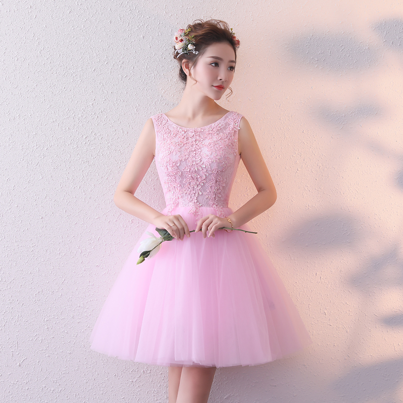 Real Photo Pink Cocktail Dresses 2020 Lace Appliqued Vestido De Festa Scalloped Neck Tulle Short Homecoming Gowns Custom Made
