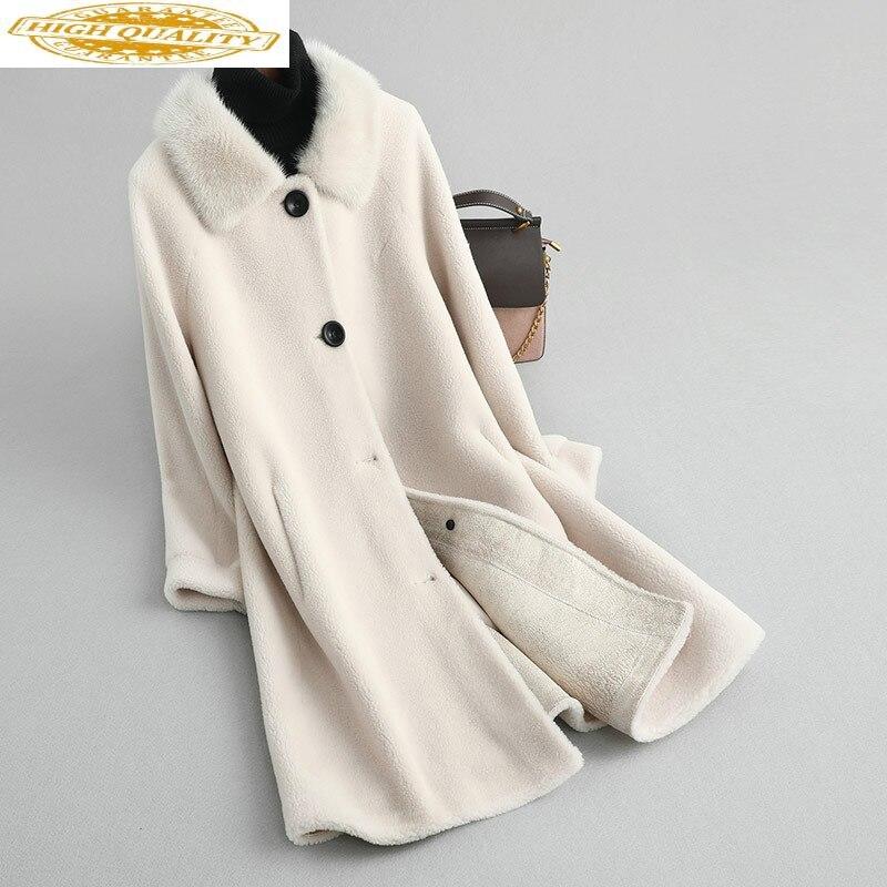 Real Fur Coat Women Mink Fur Collar Long Winter Jacket 100% Wool Fur Coats Korean Manteau Femme KQN19025 KJ2581