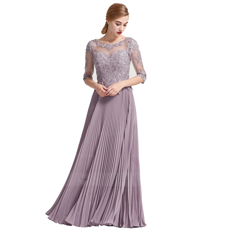 Evening Dress 2020 Scoop Neck Pleated Women Party Dresses A-line Applique Beading Robe De Soiree Elegant Long Formal Gowns