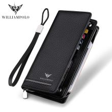 2019 long wallet male genuine Leather Luxury Brand Men Zipper Wallets Long Men Purse Clutch Business Wallets bag WILLIAMPOLO 219