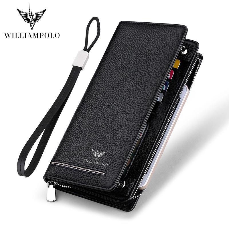 2019 Long Wallet Male Geuine Leather Luxury Brand Men Zipper Wallet Long Men Purse Clutch Business Wallets Bag WILLIAMPOLO 219