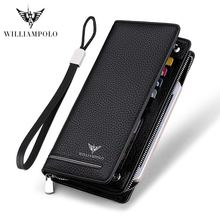 2019 long wallet male geuine Leather Luxury Brand Men Zipper Wallet Long Men Purse Clutch Business Wallets bag WILLIAMPOLO 219