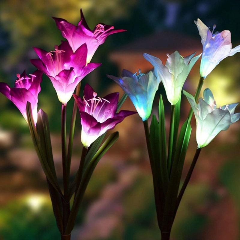 3 pc 4 cabeça flor de lírio luz solar led colorido decorativo ao ar livre gramado lâmpada casa jardim ip65 à prova dwaterproof água falso flor noite luz