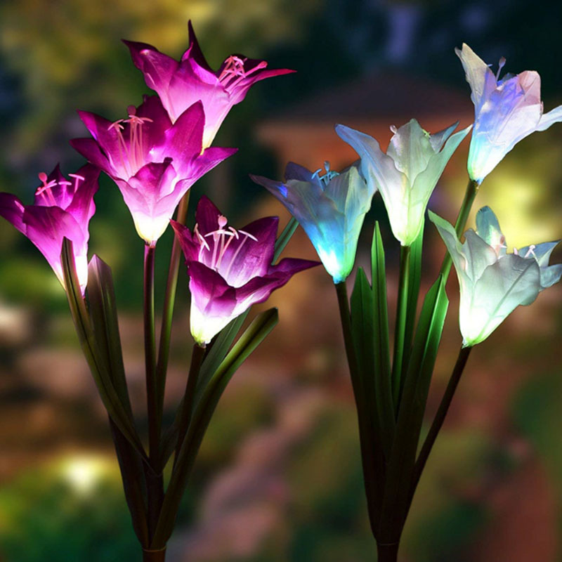 3Pc 4 Head Lily Flower Solar Light Colorful LED Decorative Outdoor Lawn Lamp Home Garden IP65 Waterproof Fake Flower Night Light