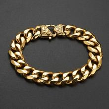 Fashion 13/15MM Male Curb Cuban Link Chain Bracelet For Men Jewelry Stainless Steel Gold Color Mens Link Bracelets