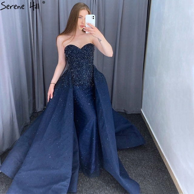 Dubai Design Red Full Crystal Evening Dresses Off Shoulder Sexy Luxury Mermaid Evening Gowns Serene Hill LA6637
