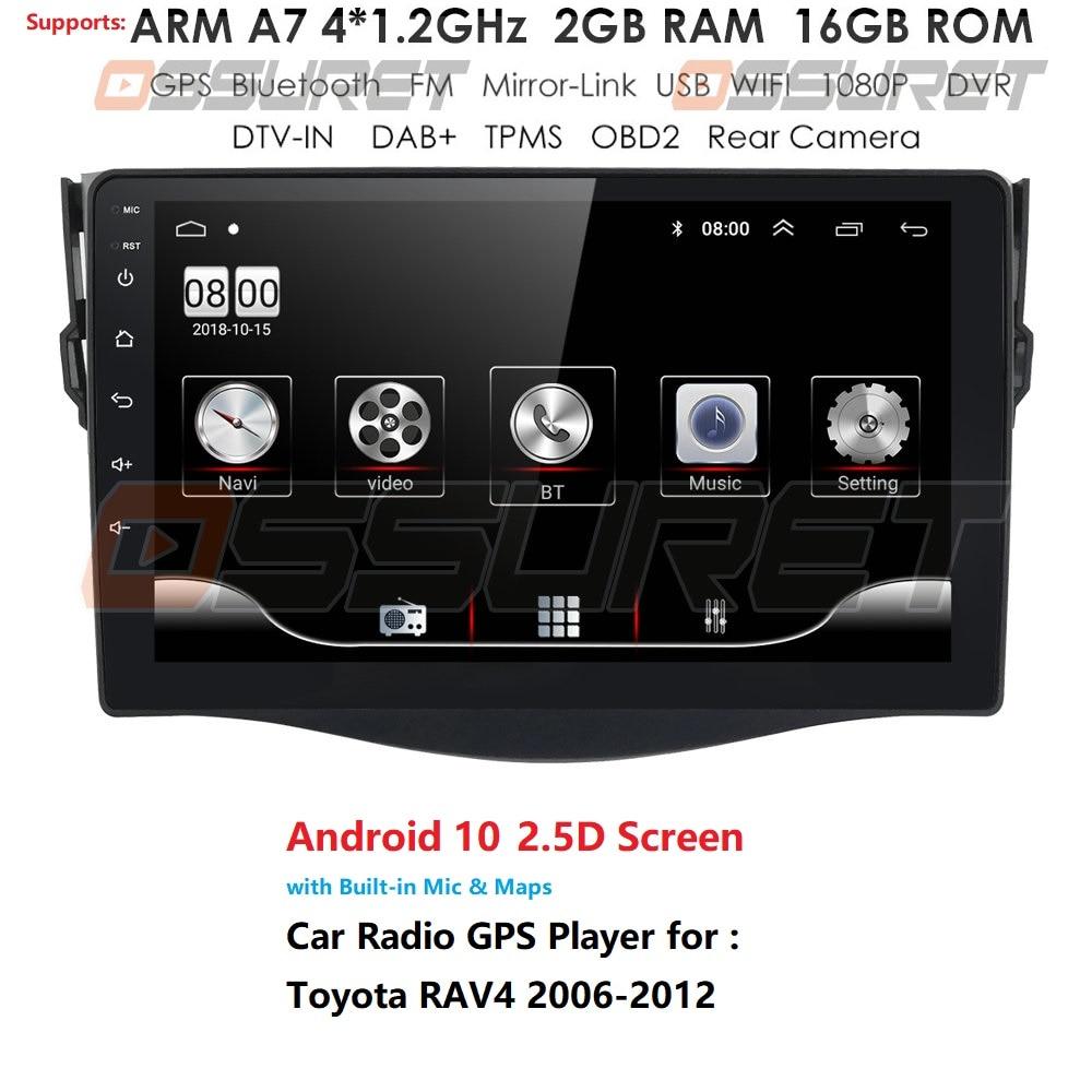 Android 10 9'' Car Radio Dvd Gps Navigation Player For Toyota RAV4 2006 2007-2011 2012 2din Car Radio Multimedia Stereo Player