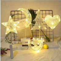 LED Night Light Rattan Decorative Fairy Lights Star Moon Heart Lamp Christmas Holiday Dry Battery Starry Room Decoration
