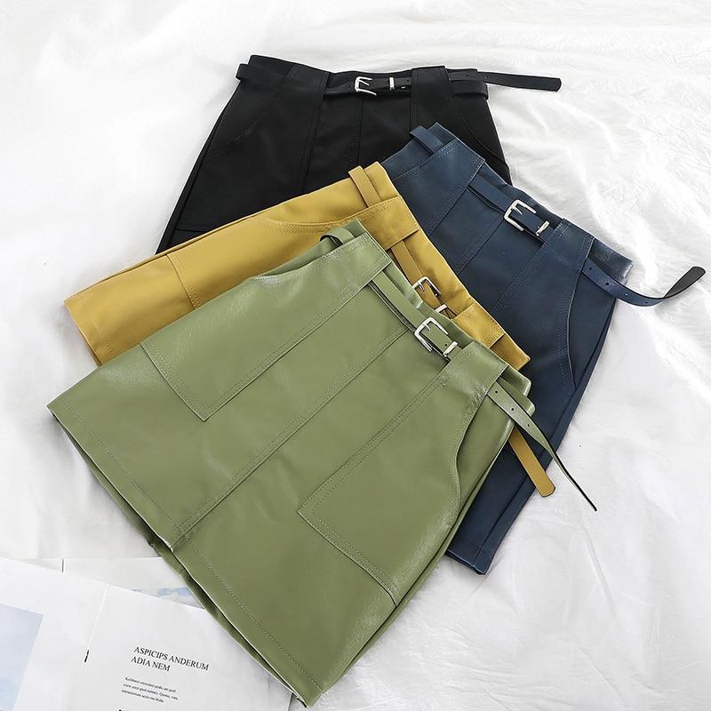 Autumn & Winter Women Fashion Solid Belt Pocket PU Leather MiniSkirt Urban Ladies Sexy High Waist Above Knee A-line Short Skirt