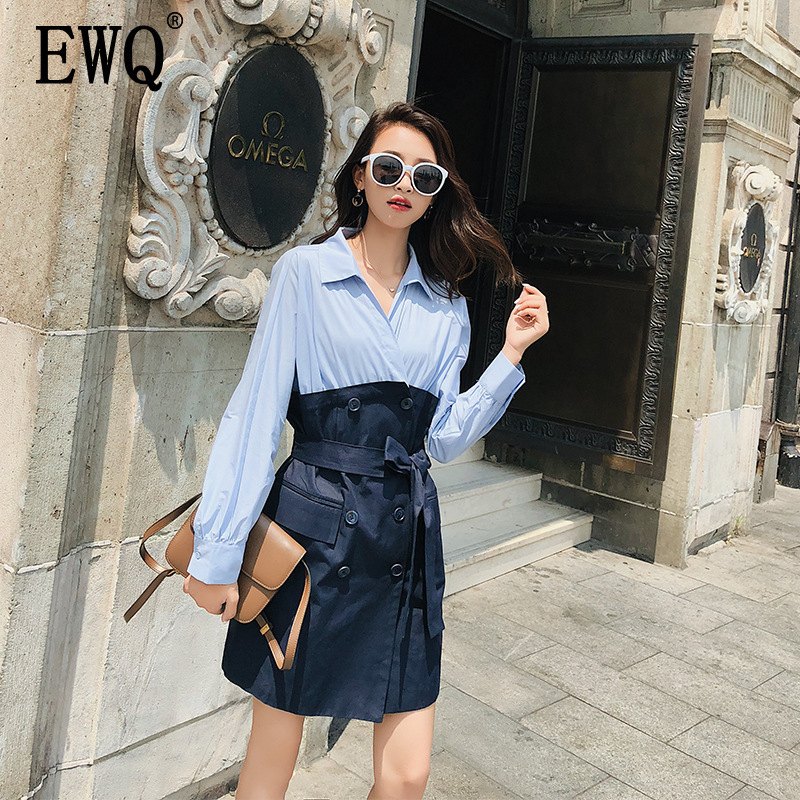 [EWQ] 2019 Spring Autumn New  Lapel Long Sleeve Hit Colors Patchwork Lace Up Double Breasted Vintage Windbreaker Women AH03205L
