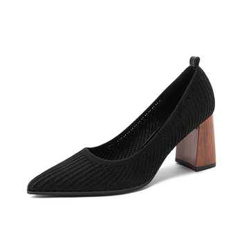 2020 Spring Knit Pumps Shoes Women High Square Heel Pointy Toe Office Lady Casual Slip On Stretchy Shoes Work Block Heel
