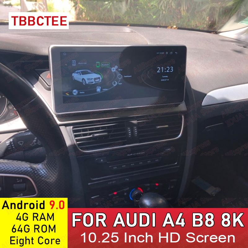 <font><b>Android</b></font> 9.0 4+64G Car Multimedia Player For AUDI A4 B8 8K 2008~2016 MMI 2G 3G <font><b>Android</b></font> Display Radio GPS <font><b>Navigation</b></font> Touch <font><b>Screen</b></font> image