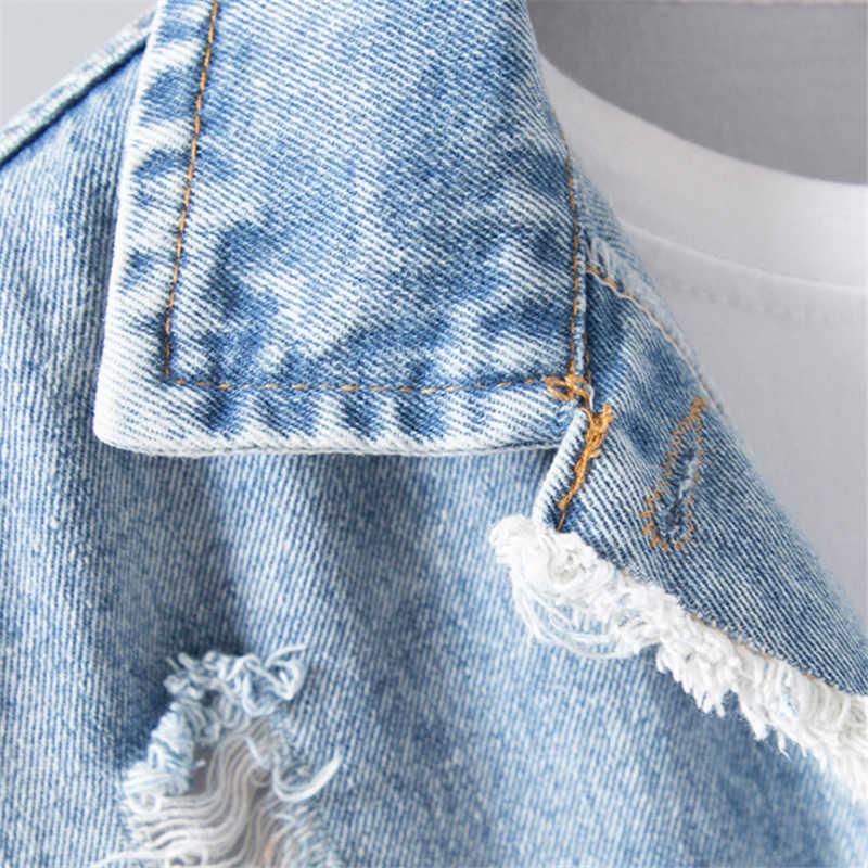 Jesień w stylu Vintage kurtka dżinsowa z dziurami kobiety podstawowe Chaqueta Mujer luźne na co dzień pojedyncze łuszcz dżinsowa kurtka z długim rękawem płaszcz kobiet