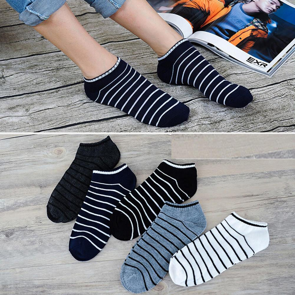 1Pairs Men Comfortable Simple Stripe Cotton Ankle Socks Elastic Short Low Cut Breathable Boat Sock Casual Calcetines Homme Invis