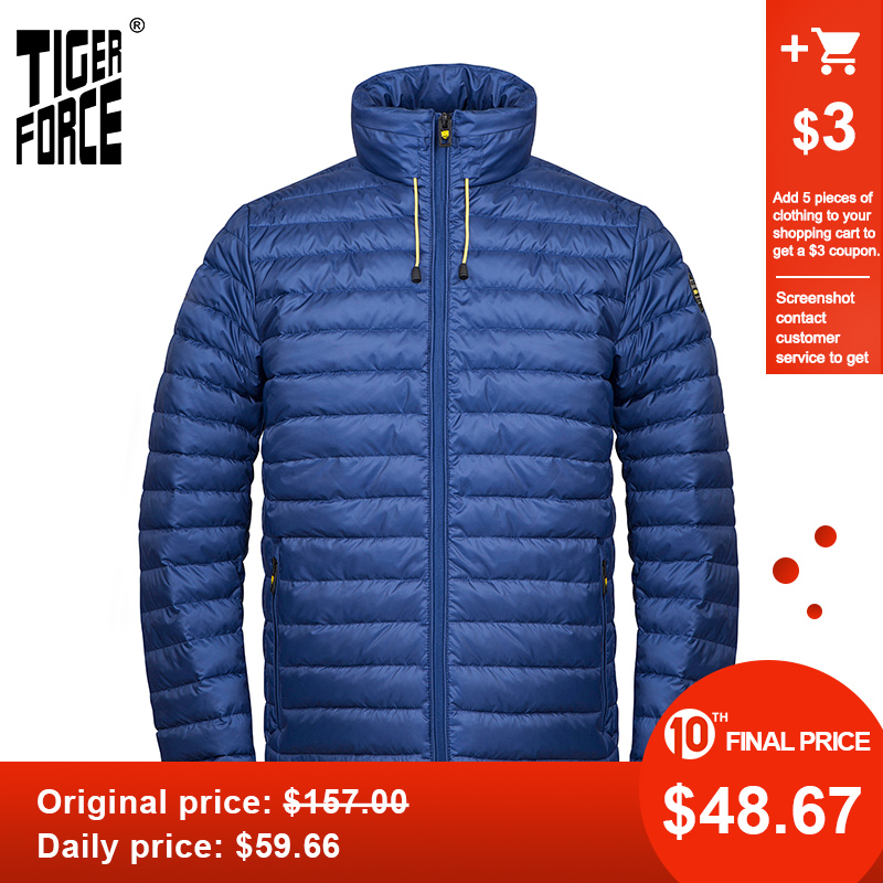 TIGER FORCE 2020 New Spring Autumn Men  Jacket High Quality Fashion Parka Hidden Hood Clothes Outerwear Casual Lightweight 50610
