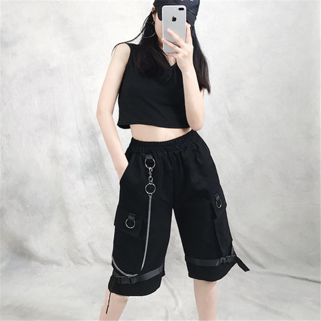 Harajuku Streetwear Women Casual Harem shorts With Chain Solid Black Cargo Gothic Cool Fashion Hip Hop Long Trousers Capris 6