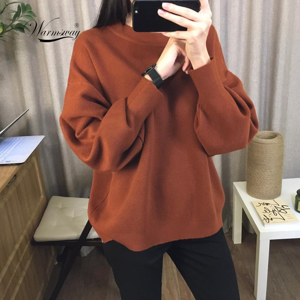 Pull Femme 2020 Winter Autumn Oversized Knitted Cashmere Blend Sweater Women Lantern Sleeve Basic Thicken Pullovers C-303