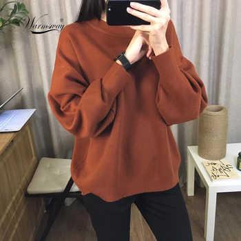 Pull Femme 2020 hiver automne surdimensionné tricoté cachemire mélange Pull femmes lanterne manches basique épaissir pulls C-303