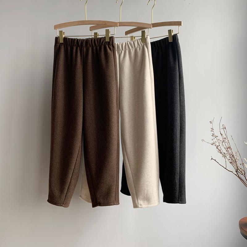 2020 Autumn Winter New Straight-Leg Pants Women's Capri Korean High Waist Loose Trousers Women Black Casual Elastic Waist Pants