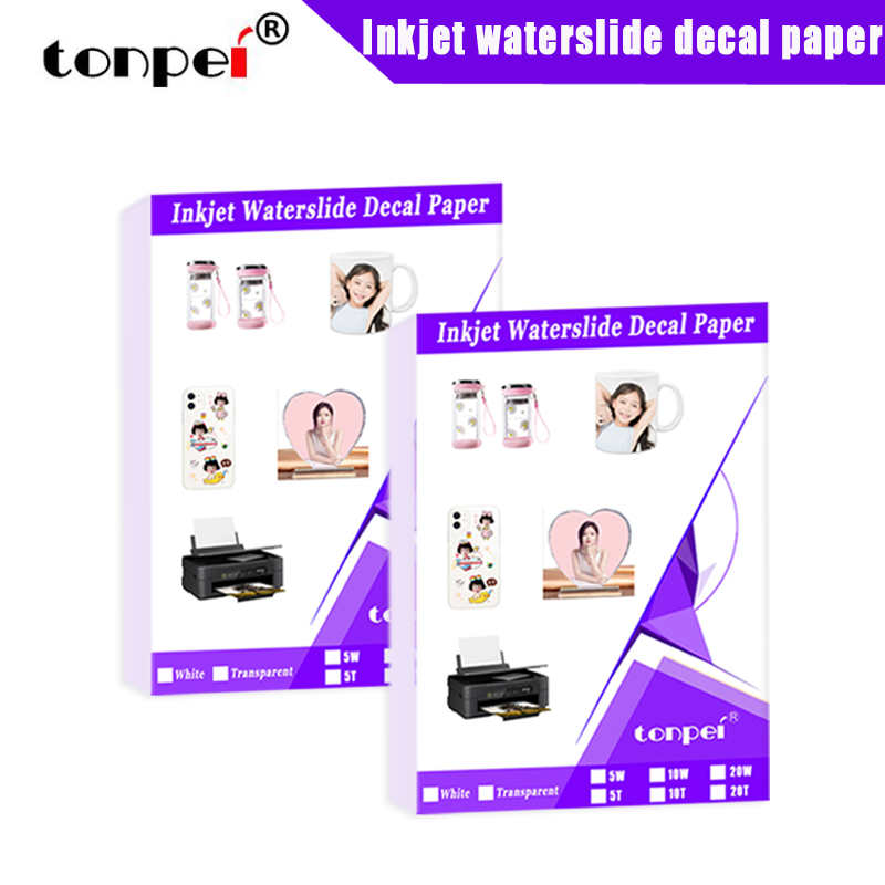 A4 Inkjet Waterslide Decal Paper  Waterbased slide transfer paper White Transparent 5 10 20 Sheets