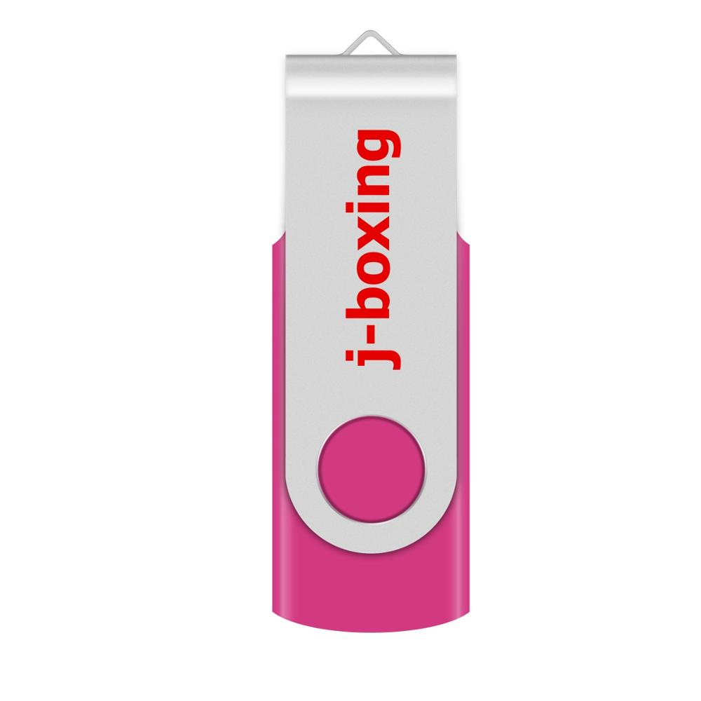 J-boxing USB Flash Drive 64GB 32GB16GB 8GB 4GB Flash Memory Stick Metal Rotating USB 2.0 Pen Drive For Gift PC Thumb Drive Pink